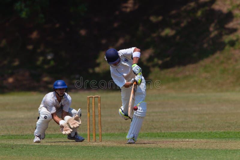 Garde de bille de 'bat' de joueur de cricket image libre de droits