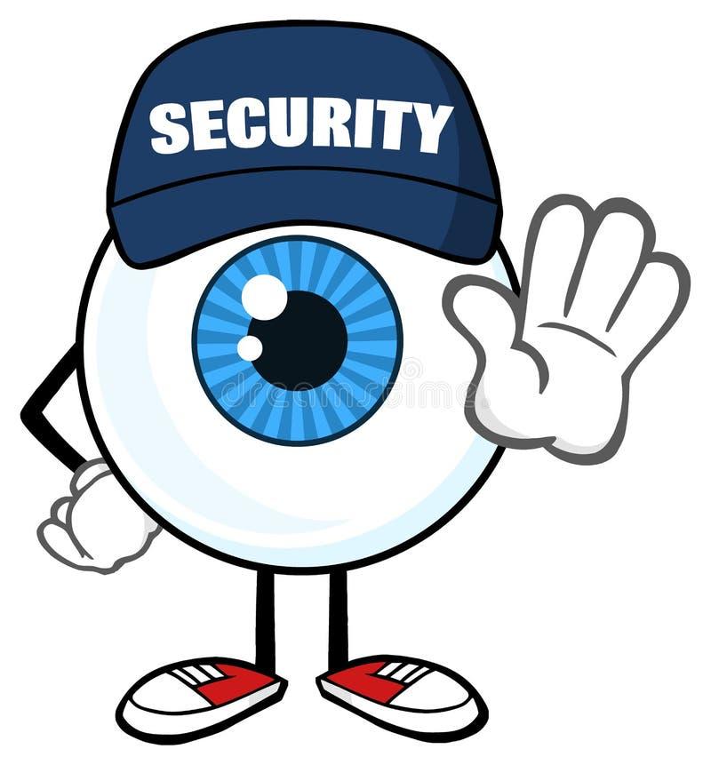 Garde de sécurité bleu de caractère de mascotte de bande dessinée de globe oculaire Gesturing un arrêt illustration libre de droits