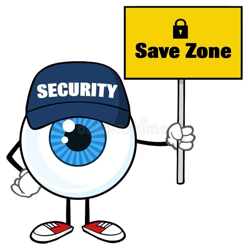 Garde de sécurité bleu de caractère de mascotte de bande dessinée de globe oculaire Holding Up un signe de zone d'économies illustration stock