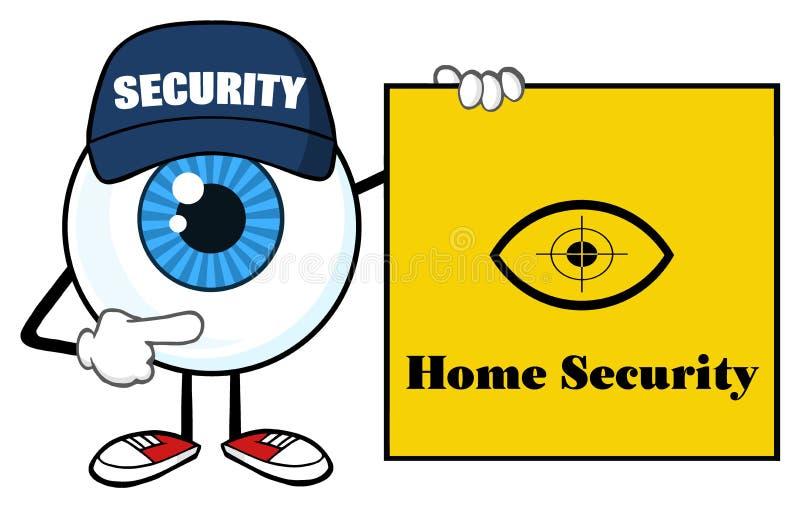 Garde de sécurité bleu de caractère de mascotte de bande dessinée de globe oculaire Pointing une bannière de signe de sécurité à  illustration libre de droits