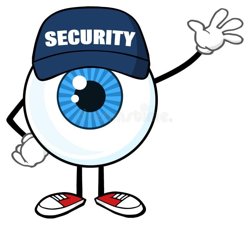 Garde de sécurité bleu de caractère de mascotte de bande dessinée de globe oculaire Waving For Greeting illustration stock