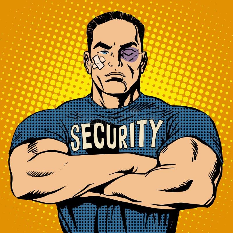 Garde de sécurité brutal après un combat illustration libre de droits