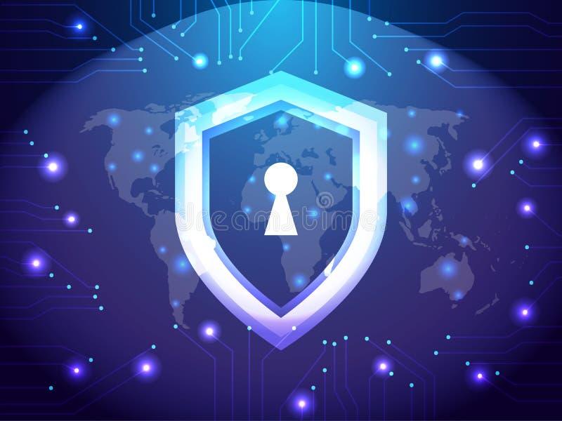 Garde de sécurité de Cyber Network Sécurité et concept d'Internet Thème de protection de garde de bouclier illustration libre de droits