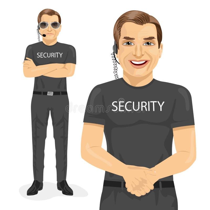 Garde de sécurité professionnel avec la pose deux différente illustration de vecteur