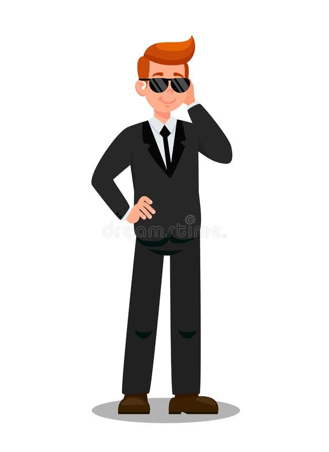 Garde du corps privé Task Cartoon Character de sécurité illustration de vecteur