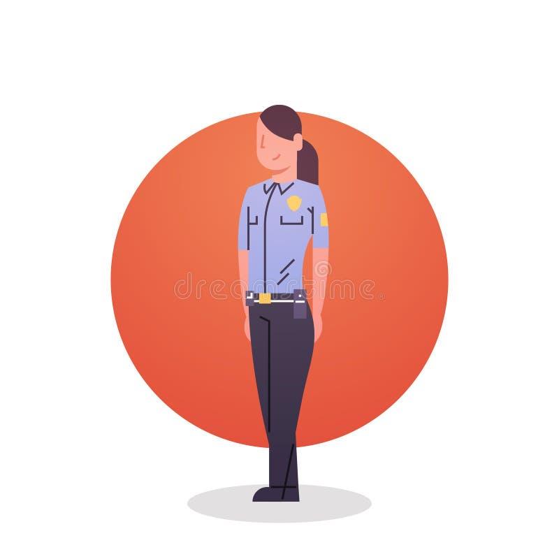 Garde féminine Security de cannette de fil d'icône de femme de police illustration stock
