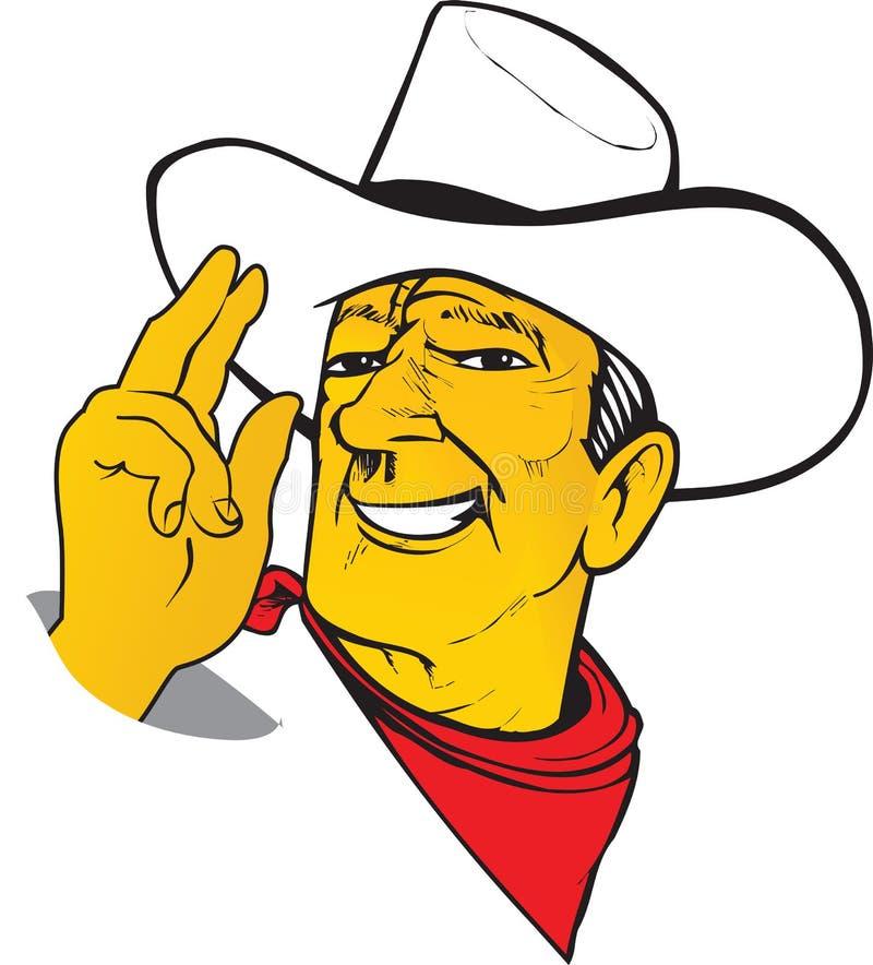 Garde forestière charismatique de Texas Cowboy de bande dessinée occidentale dans le chapeau avec la cicatrice illustration libre de droits