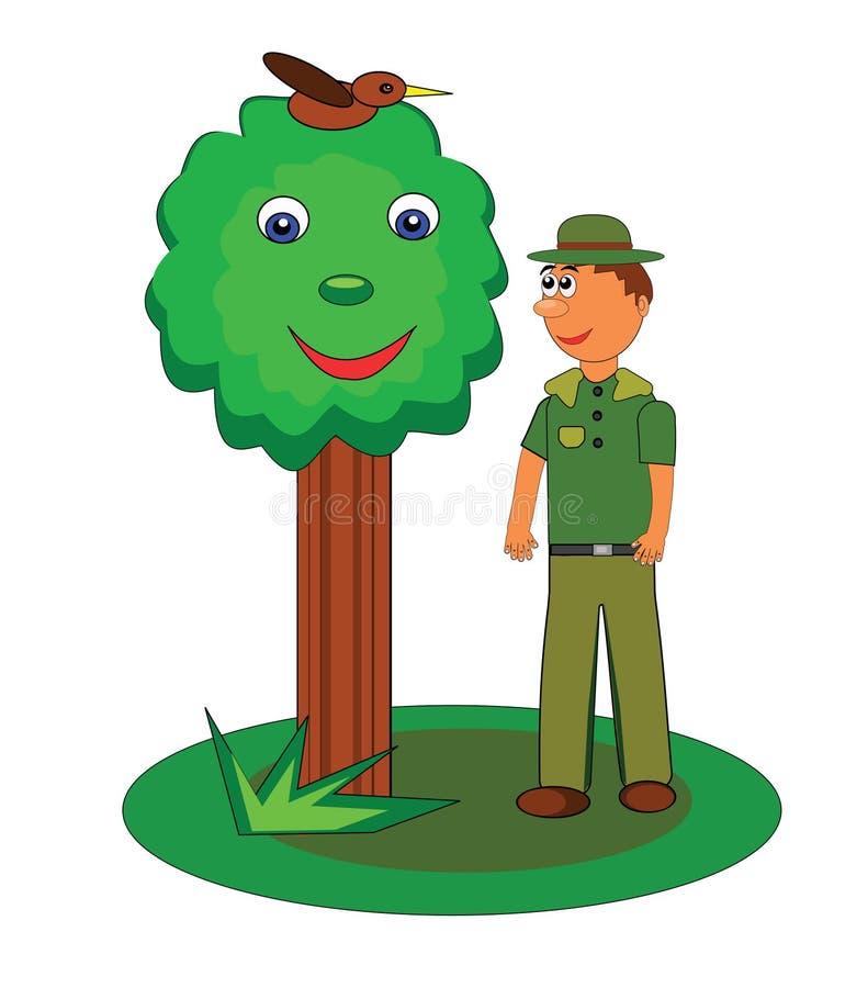 Garde forestier de forêt illustration stock