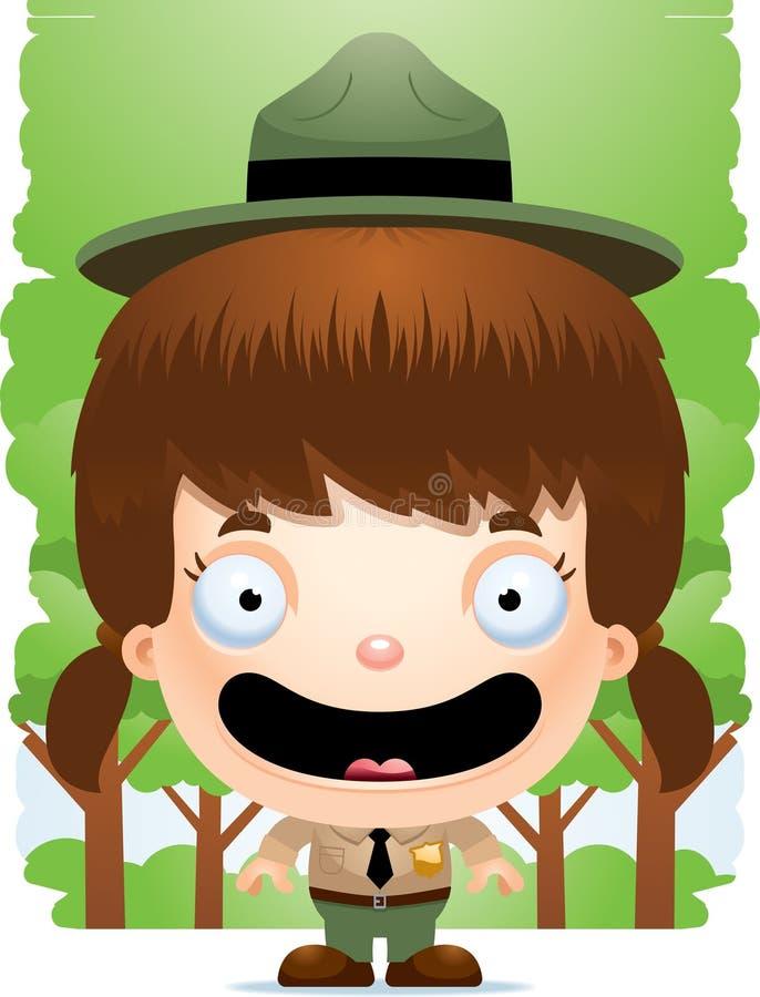 Garde forestier de sourire de fille de bande dessinée illustration libre de droits