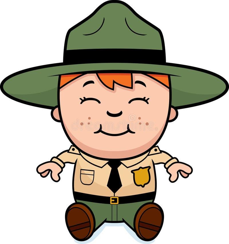Garde forestier Sitting d'enfant illustration de vecteur