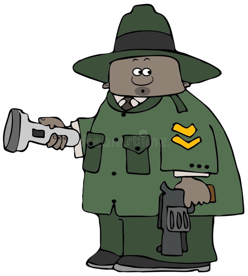 Garde forestier tenant une lampe-torche et un pistolet illustration stock