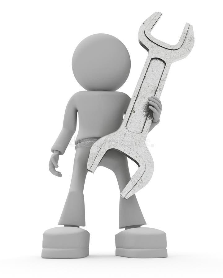 garde la clé de personnes illustration stock