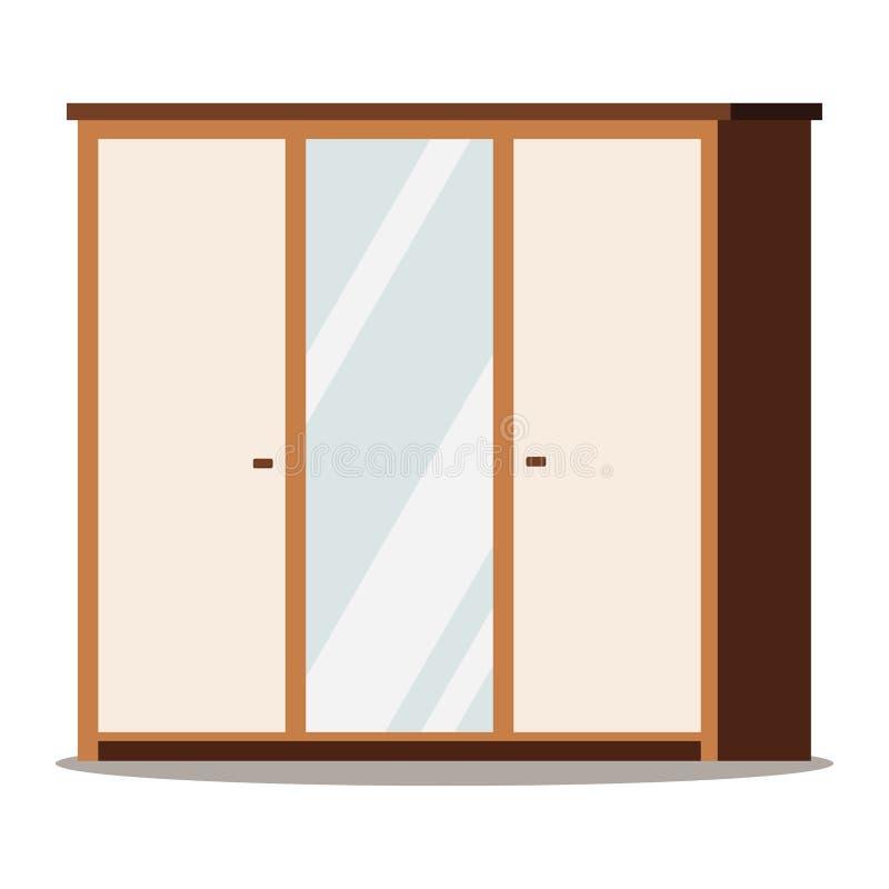 Garde-robe en bois avec le miroir d'isolement sur le fond blanc illustration de vecteur