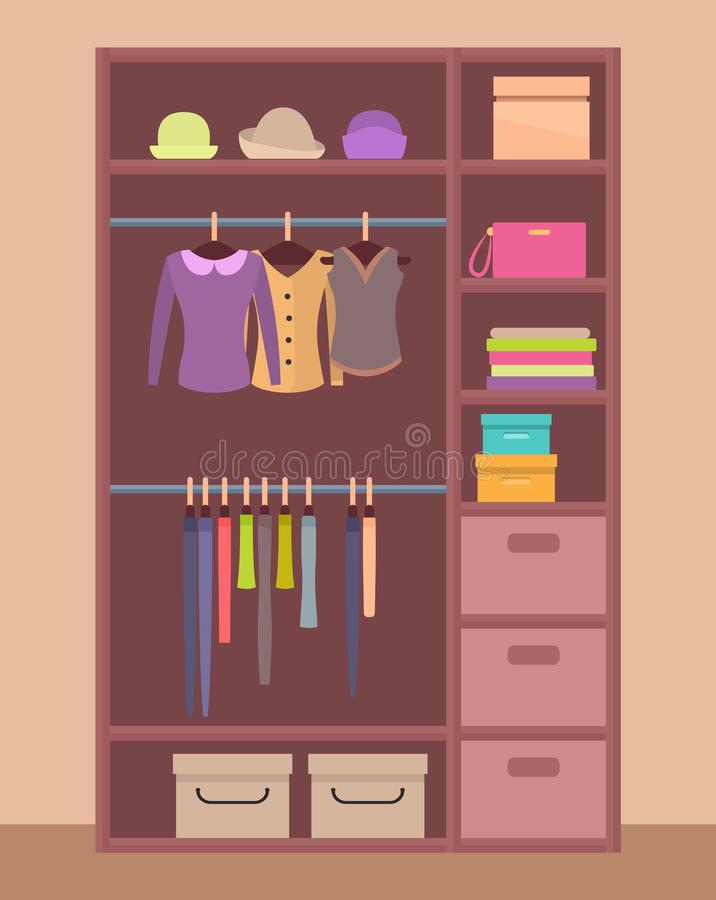 Garde-robe en bois avec les vêtements lumineux et les chapeaux chauds illustration stock