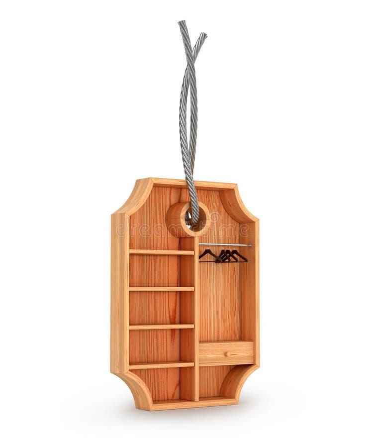 garde-robe en bois vide dans la forme du label, illustration de vecteur