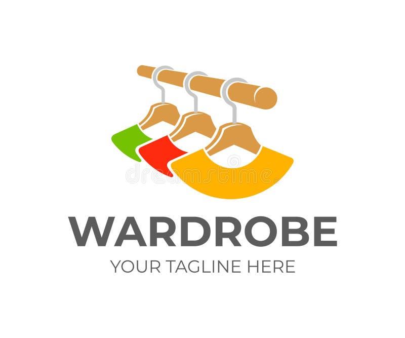 Garde-robe et cintres avec des vêtements, conception de logo Support de garde-robe avec des cintres et des vêtements colorés accr illustration de vecteur