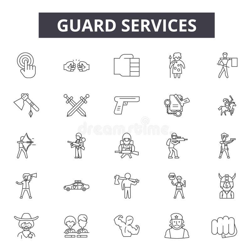 Garde tuyau de service des icônes, signes, ensemble de vecteur, concept d'illustration d'ensemble illustration stock