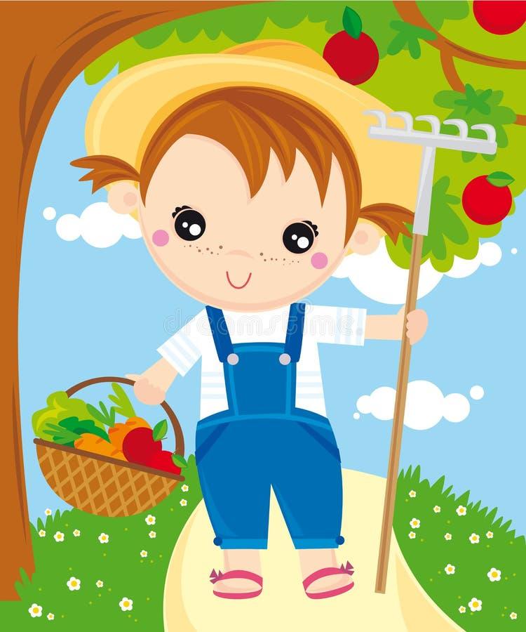 Download Garden stock vector. Image of vegetables, girl, fruits - 10270064