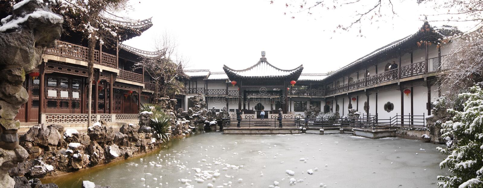 He Garden. National key cultural unit He Garden from the old town of Yangzhou, Qing Dynasty, winter royalty free stock photo