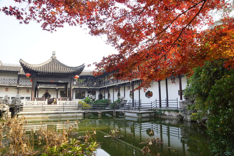 He Garden. National key cultural unit He Garden from the old town of Yangzhou, Qing Dynasty, fall royalty free stock image