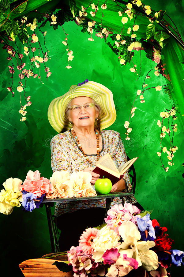 Download In garden stock photo. Image of grandmother, floriculture - 38286564