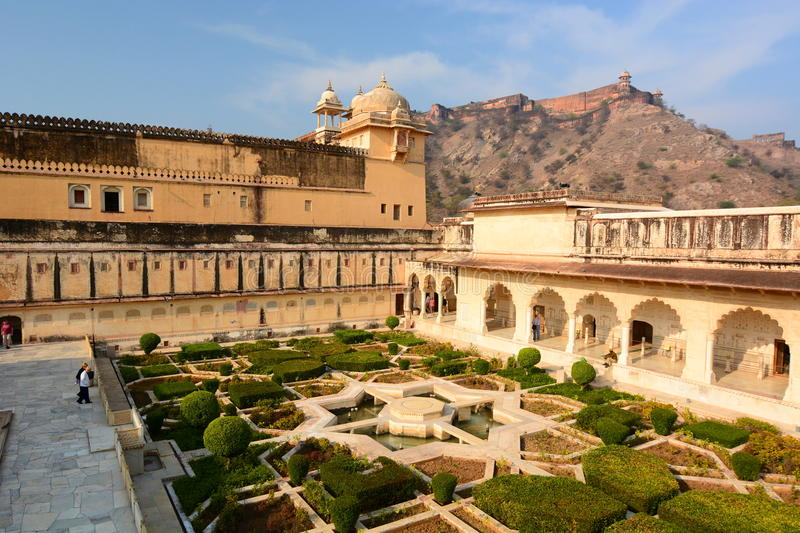 The garden. Amer Palace (or Amer Fort). Jaipur. Rajasthan. India. Amer Palace or Amer Fort is located in Amer, 11 kilometres from Jaipur, Rajasthan state, India royalty free stock images
