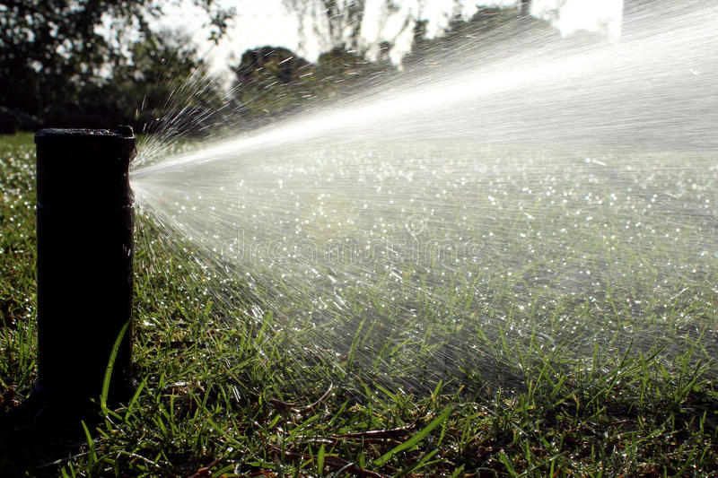 Garden automatic irrigation system watering lawn stock photo