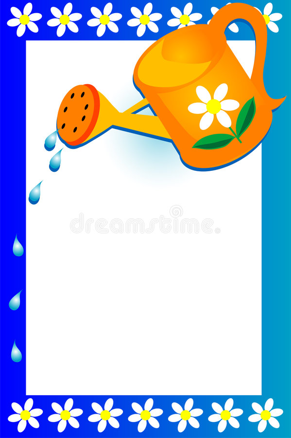 Garden Background. Watering can, droplets of water and flowers frame a colorful blue and white background royalty free illustration