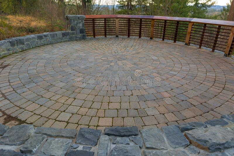Download Garden Backyard Circular Brick Paver Patio Stock Photo   Image Of  Round, Rocks: