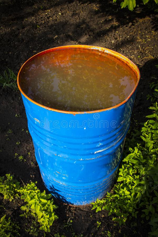 A garden barrel with water royalty free stock photo