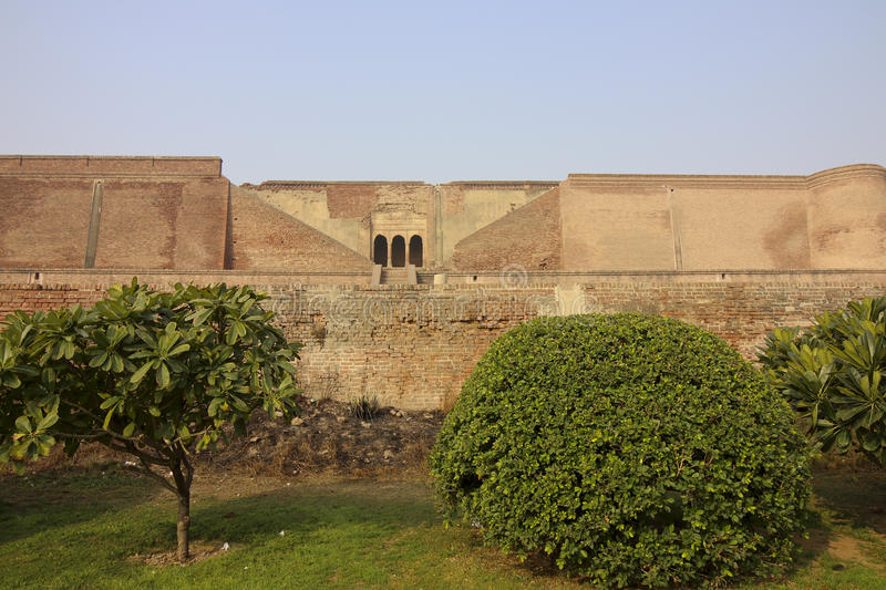 Garden at bathinda fort. Neatly kept gardens at the restored bathinda fort in punjab india royalty free stock photography