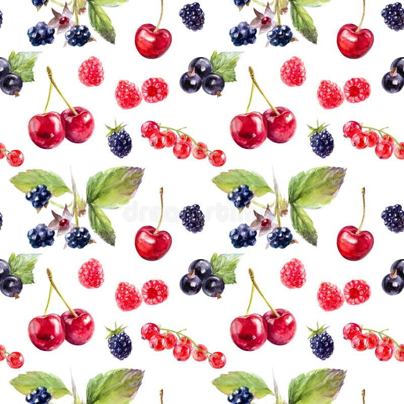 Garden berries hand draw seamless watercolor fabric pattern. stock illustration