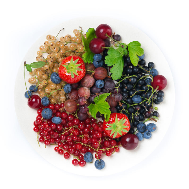 Garden berries on a plate, top view, isolated. On white royalty free stock photo