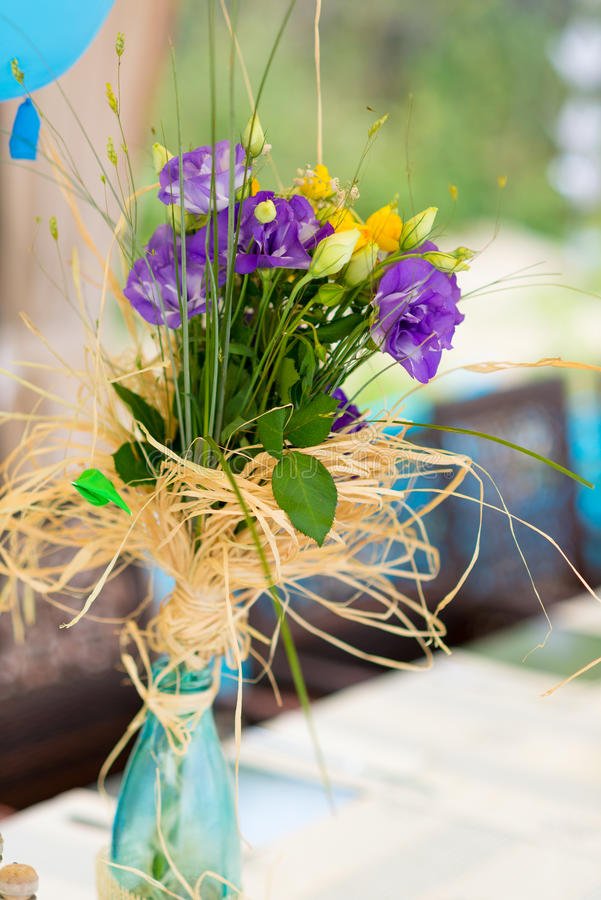 Garden birthday party outdoor. With baloons and decoration royalty free stock photography