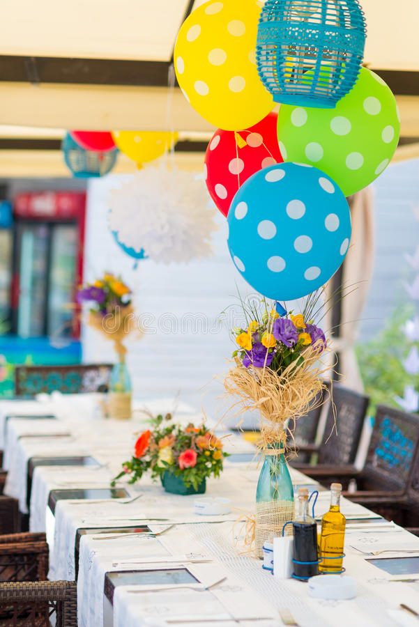 Garden birthday party outdoor. With baloons and decoration stock images
