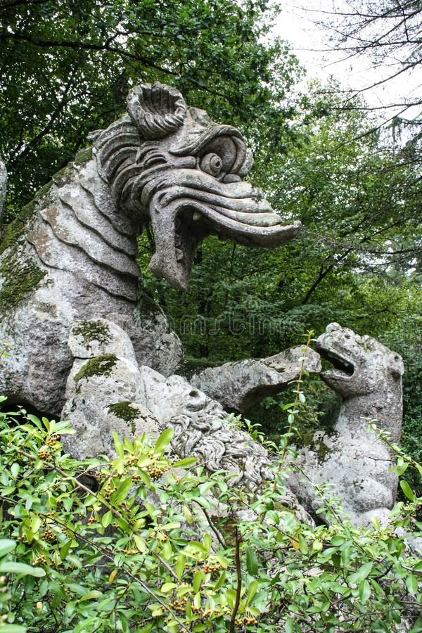 Garden of Bomarzo. At Bomarzo - Italy - On semptember 2009 - Sacred Grove , known also as Park of the Monsters, populated by grotesque sculptures in manieristic royalty free stock image