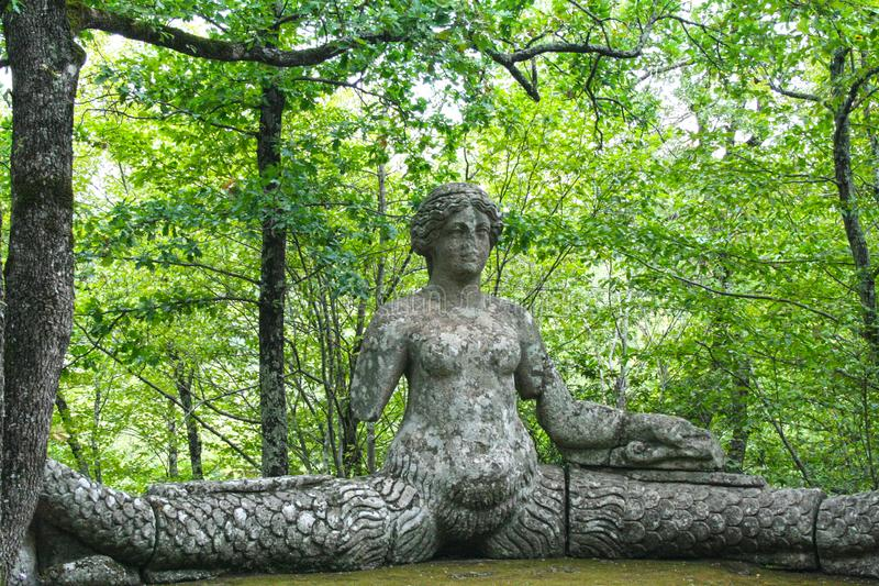 Garden of Bomarzo. At Bomarzo - Italy - On semptember 2009 - Sacred Grove , known also as Park of the Monsters, populated by grotesque sculptures in manieristic royalty free stock images