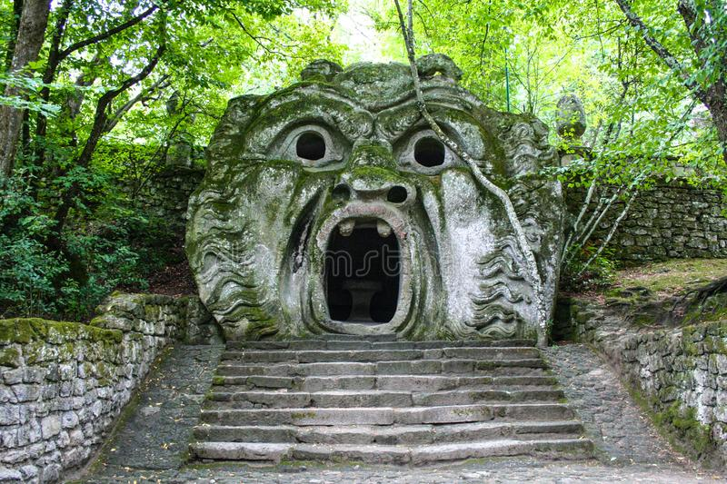 Garden of Bomarzo. At Bomarzo - Italy - On semptember 2009 - Sacred Grove , known also as Park of the Monsters, populated by grotesque sculptures in manieristic royalty free stock photo