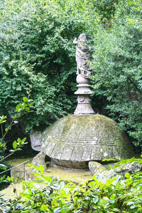 Garden of Bomarzo. At Bomarzo - Italy - On semptember 2009 - Sacred Grove , known also as Park of the Monsters, populated by grotesque sculptures in manieristic royalty free stock photography