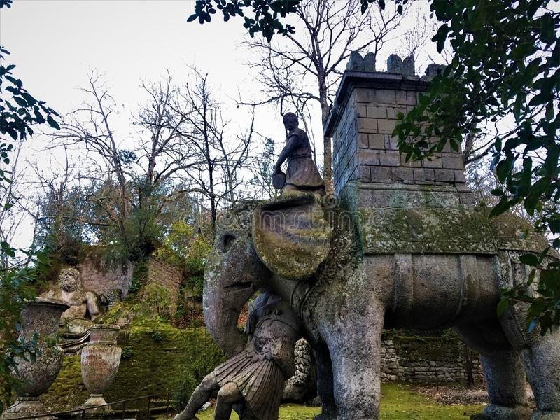 Garden of Bomarzo, Sacred Grove, Park of the Monsters, Hannibal`s elephant. Garden of Bomarzo, Sacred Grove, Park of the Monsters, Manieristic monumental complex stock image