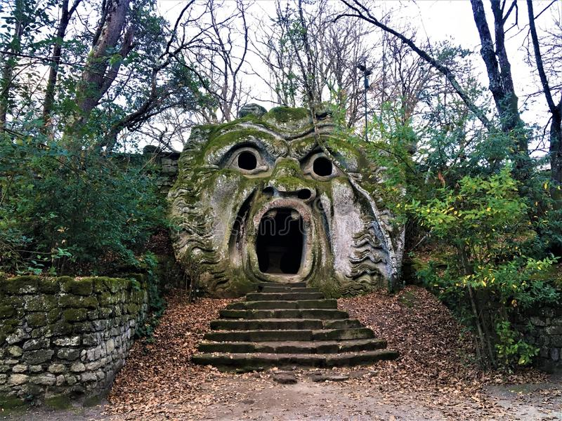 Garden of Bomarzo, Sacred Grove, Park of the Monsters, Orcus mouth. Garden of Bomarzo, Sacred Grove, Park of the Monsters, Manieristic monumental complex located royalty free stock image