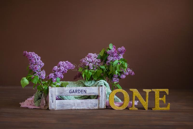 Garden box with lilac on a brown background, the inscription One, one year old child royalty free stock photos