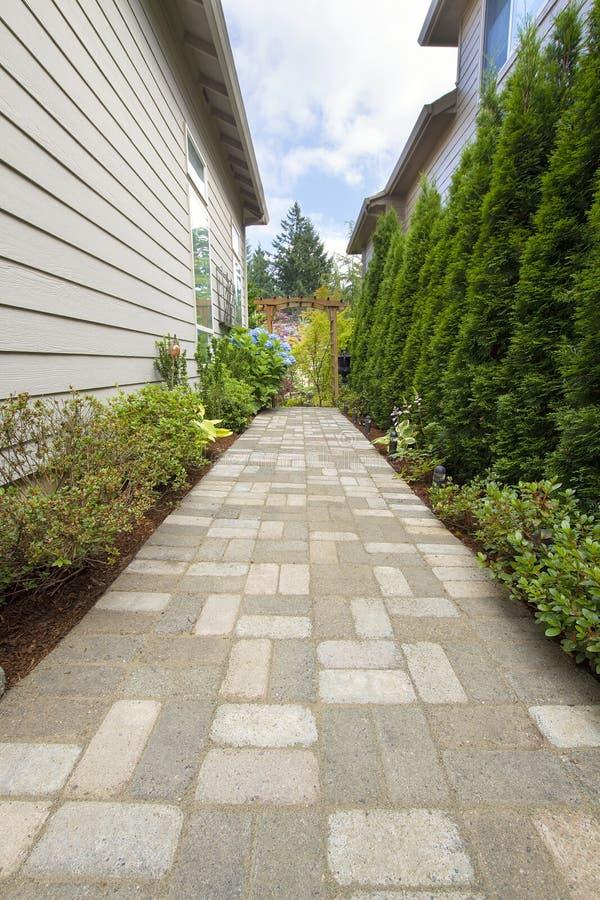 Garden Brick Paver Path Walkway With Arbor Royalty Free Stock Photo