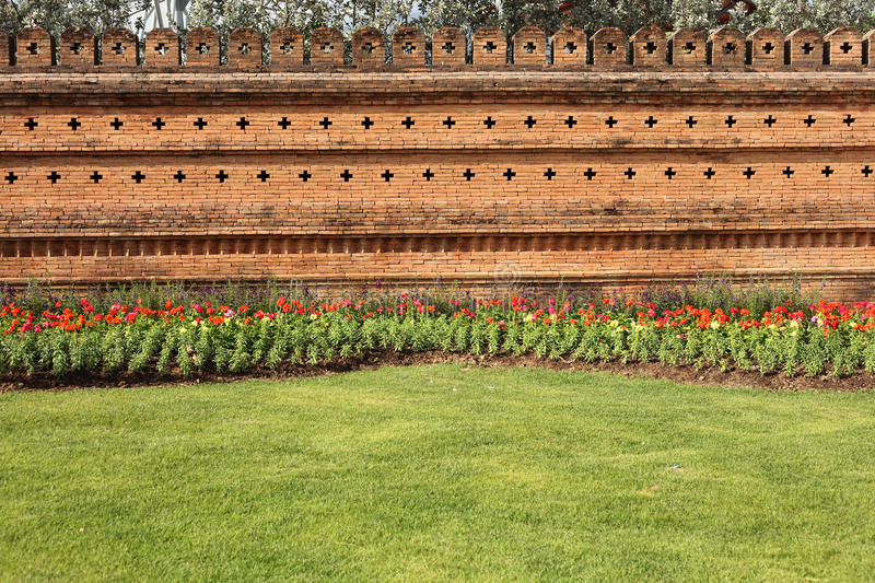 Garden Brick Wall stock images