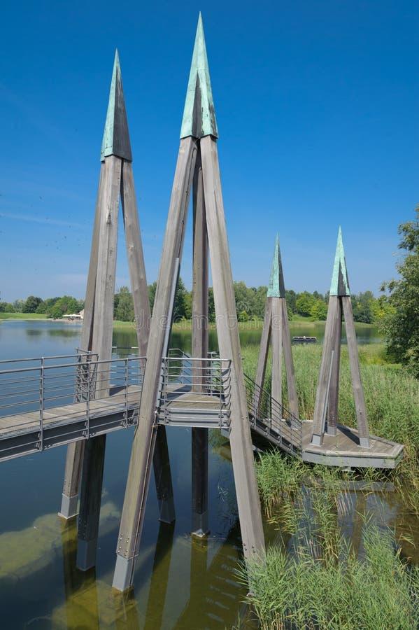 Garden with Bridge. Landscape Garden with Bridge and Lake stock photography