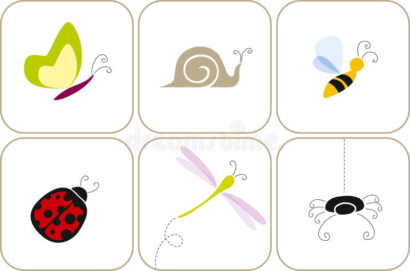 Garden bugs royalty free illustration