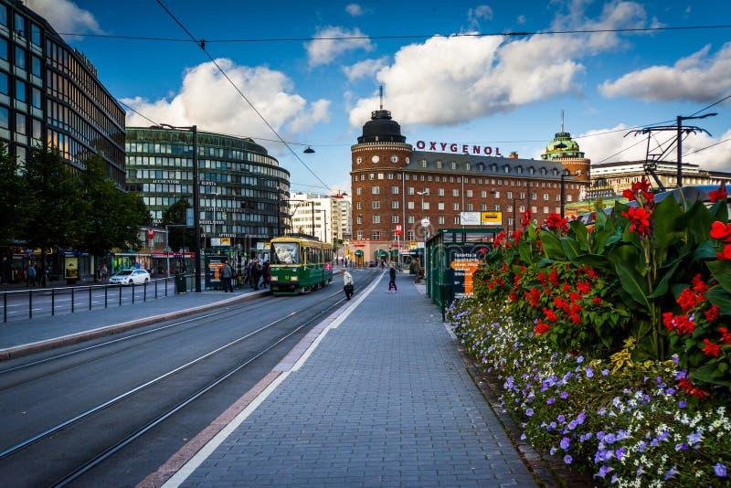 Garden and buildings along Siltasaarenkatu in Helsinki, Finland. royalty free stock photography