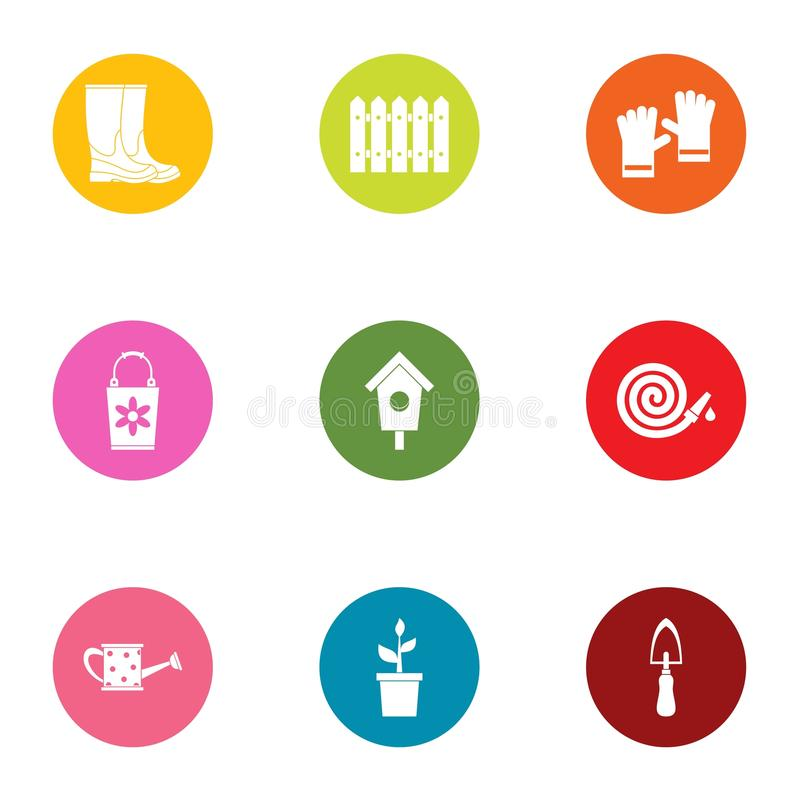 Garden business icons set, flat style. Garden business icons set. Flat set of 9 garden business vector icons for web isolated on white background vector illustration