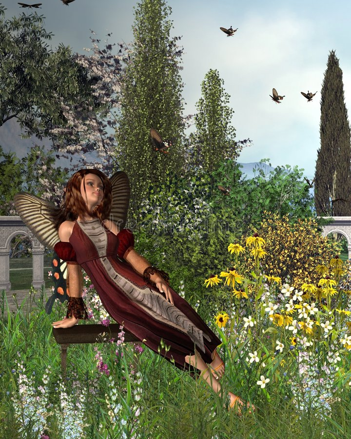 Garden Butterfly Fairy - 1. Digital render of a fairy with butterfly wings sitting in a garden watching a swarm of swallowtail butterflies vector illustration
