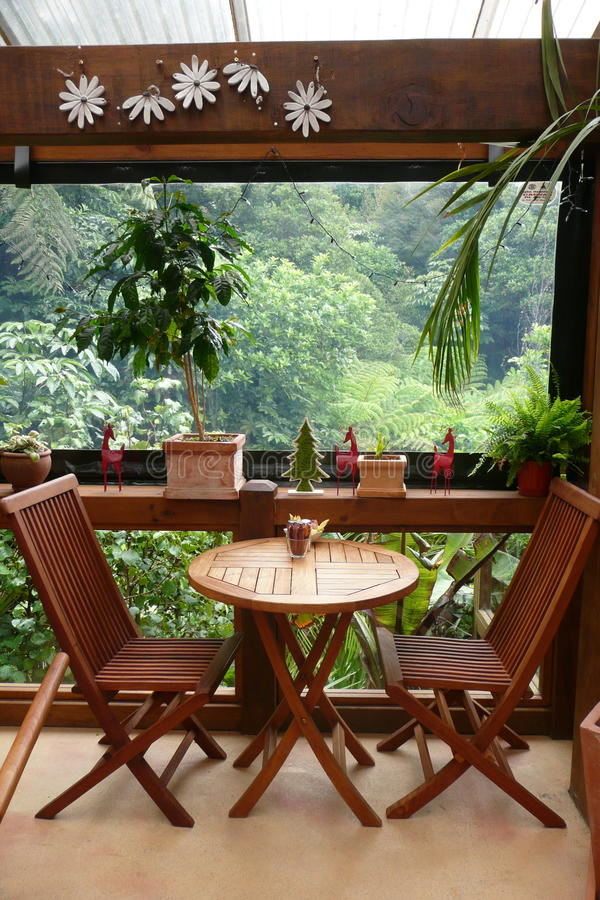 Garden cafe: table for two royalty free stock photo